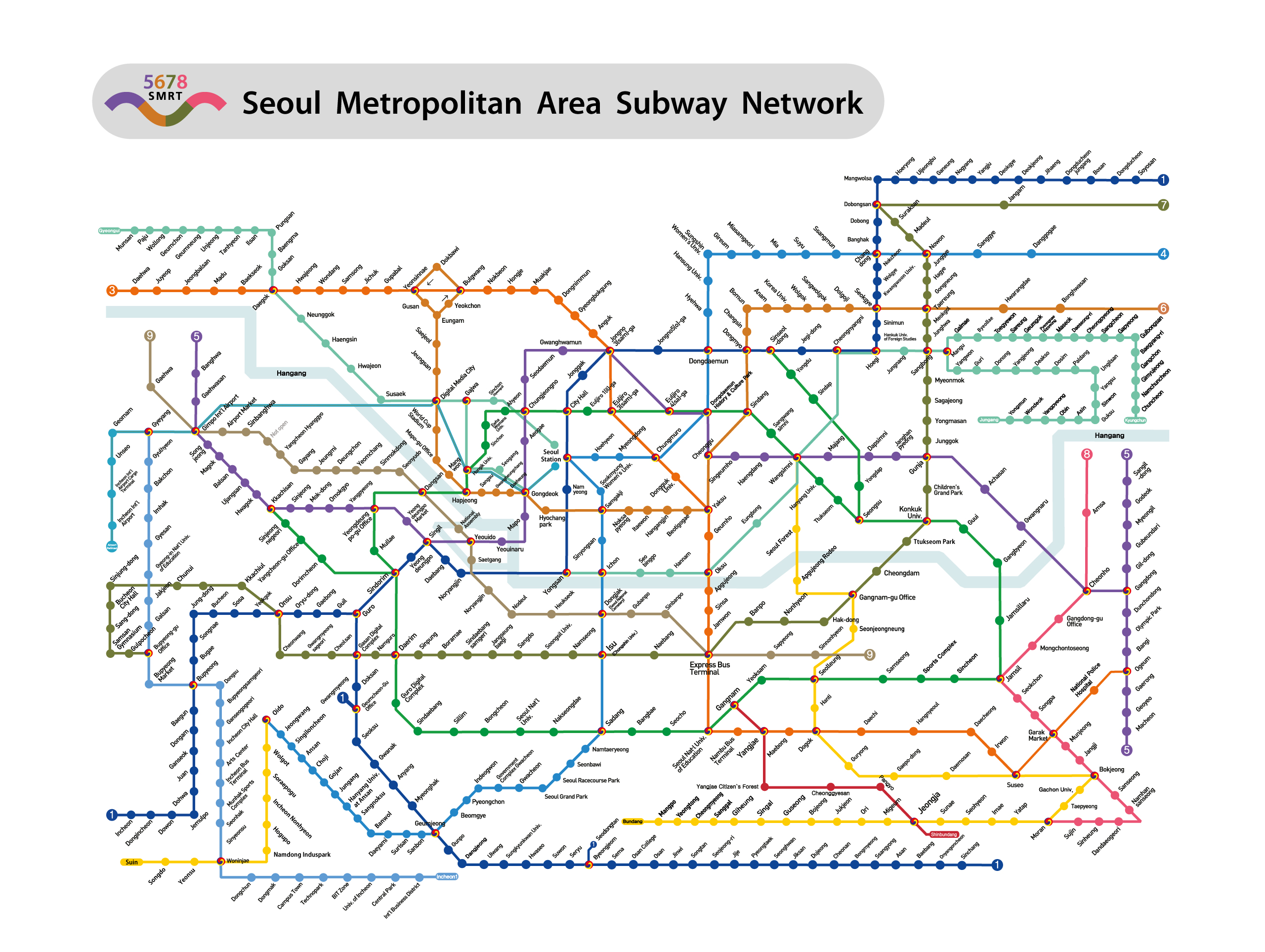Eoul Subway Map.Seoul Subway Metro Map English Version Updated