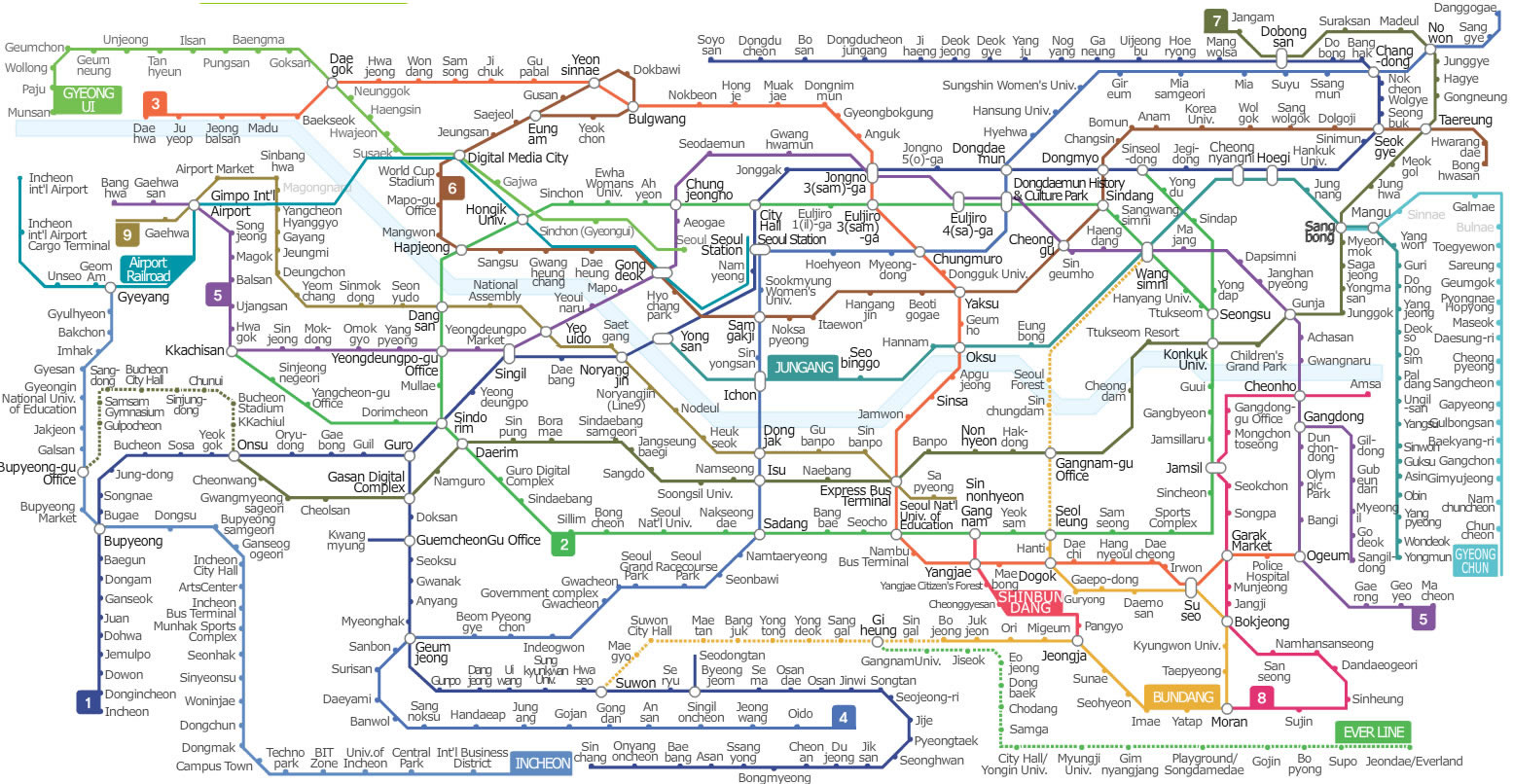 Korean Subway Map English.Seoul Subway Metro Map English Version Updated